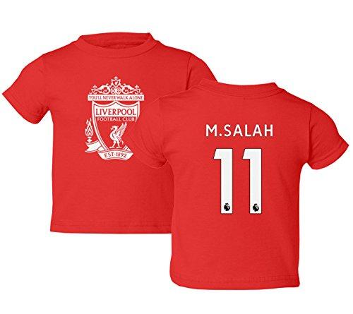 Tcamp Liverpool #11 Mohamed Salah Premier League Little Kids Girls Boys Toddler T-Shirt (Red, 4T)