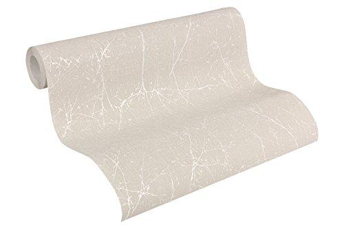 A.S. Création Vliestapete Elegance Tapete im skandinavischen Design 10,05 m x 0,53 m beige weiß Made in Germany 305074 30507-4