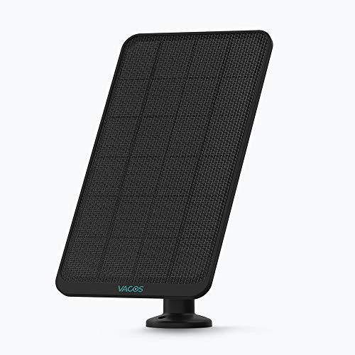 VACOS Panel Solar para Cámara de Seguridad IP Inalámbrica para Exteriores,Resistente a la Intemperie(Negro)