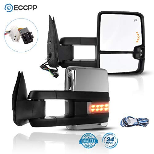 ECCPP Tow Mirrors Towing Mirrors Compatible with 2001-2002 GMC Sierra 1500 HD/2500 HD/3500 with Left Right Side Power Control Heat LED Turn Signal Light with Chrome Housing