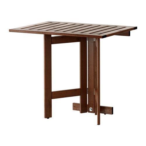 ÄPPLARÖ - Gateleg Tisch für Wand, Außenbereich, braun gebeizt