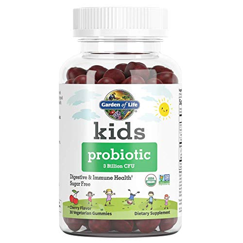 Garden of Life Kids Probiotic 3 Billion CFU, Cherry Flavor Gummies - Sugar Free Once Daily Probiotics for Kids, Probiotics Plus Fiber for Children's Digestive Immune Health, 30ct - Packaging May Vary