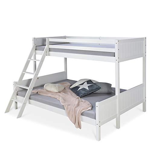Homestyle4u 1898, Kinderbett Etagenbett 90x200 und 140x200, Hochbett Weiß, Holz Kiefer