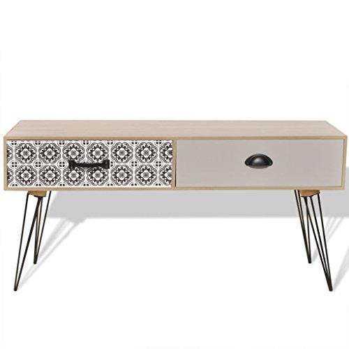 Vislone Meuble Banc TV Table de Chevet Design Scandinavee en MDF