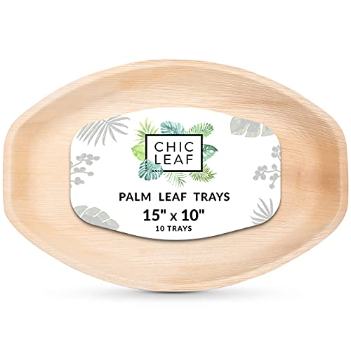 Chic Leaf Disposable Palm Leaf Trays Like Bamboo Trays Large 15' x 10' Oval Trays (10 pc) - Strong Compostable Party Trays or Palm Plates for Weddings, Charcuterie, BBQ, Events, Catering