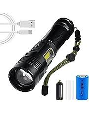 LED-zaklamp, 7000 lumen hoge lumen lithiumbatterij met hoge capaciteit, USB oplaadbare zaklamp, 7 lichtstanden, superheldere draagbare waterdichte outdoor campingzaklamp