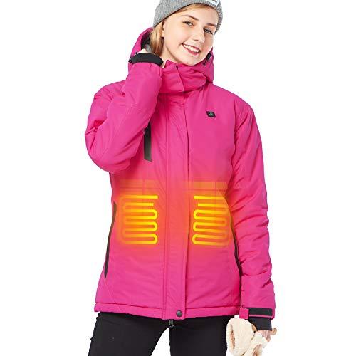 DEWBU HeatedJacketwith7.4VBattery Outdoor Winter Electric Heating Hoodie Coat For Women,L,Rose Red