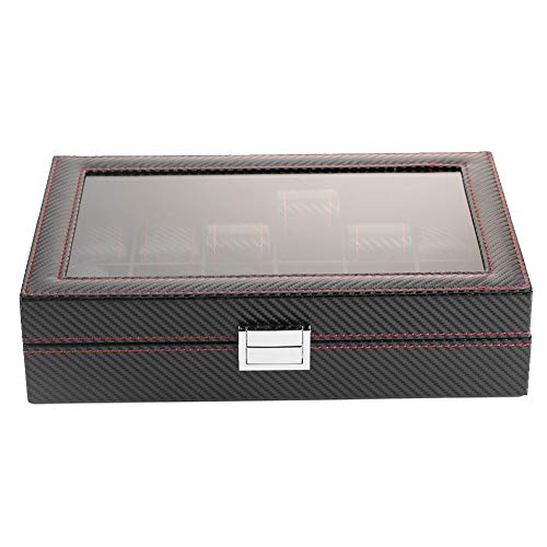 Watch Case Box, Sieraden Display Storage Collector Organizer met 12-sleuf Carbon Fiber Case-verpakking voor sieraden Display Travel