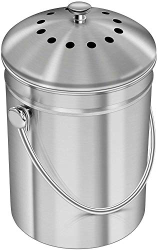 Buy Bargain 1 Unit - 1.3 Gallon Stainless Steel Compost Bin with Lid Garden Compost Bins My UTP-RR