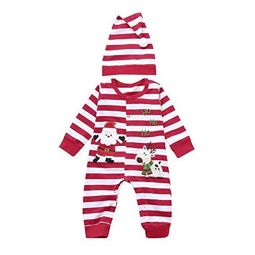 Jimmackey Neonato Natale Manica Lunga Strisce Pagliaccetto Santa Applique Tuta Body Vestiti, Bambino da 3 A 24 Mesi
