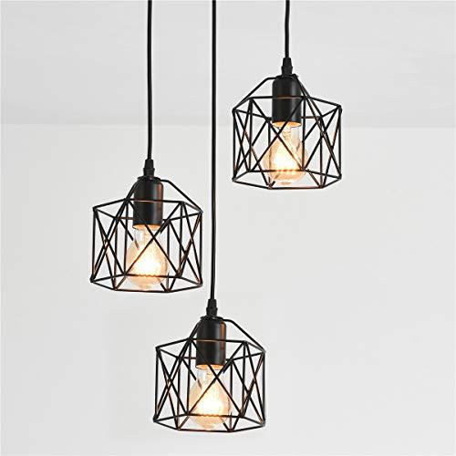 Pendant Lighting Ceiling 3 Light Black e27 Fitting Adjustable Height Over Dining Table for Kitchen Island