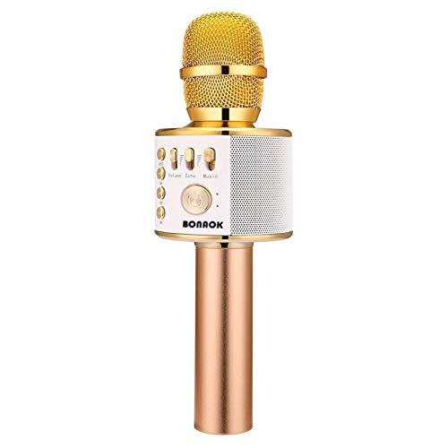 BONAOK Wireless Bluetooth Karaoke Microphone,3-in-1 Portable Handheld Karaoke Mic Speaker Machine Birthday Home Party for PC or All Smartphone (Q37 Gold)