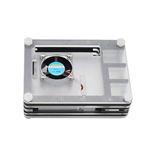 CUHAWUDBA para Raspberry Pi Caja de AcríLico con Ventilador de RefrigeracióN Disipadores de Calor Negros Adaptador de Corriente 3A para Raspberry Pi 4 (Enchufe de la EU)