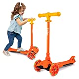 KicksyWheels Scooters for Kids - 3 Wheel Toddler Scooter for Boys & Girls - Toddlers and Kids Toys for 2 Yeara Old and Up - Three Heights & Light Up Wheels (Yellow Tangerine, w/o Seat)