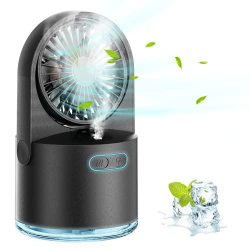 Mini Ventilador con Niebla, USB Ventilador de Mesa, 3 Velocidad del Viento y 2 Modos de Rociado, 7 Colores Luz Nocturna, Ventilador de Escritorio Adecuado para Dormitorio, Oficina, Aire Libre, Camping