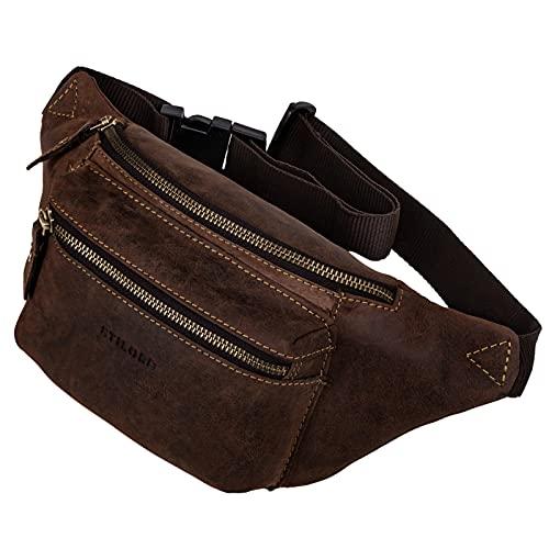 STILORD 'Portland' Riñonera Vintage de Cuero Vendimia o Cruzada para el Cinturón del Festival Bolsa de Cintura de Cuero Genuino, Color:Novello - marrón
