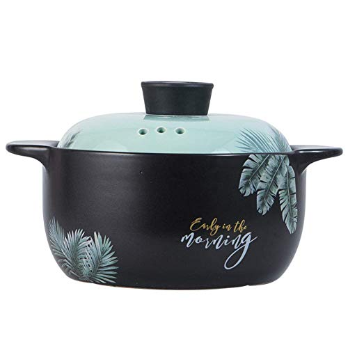 JY&WIN Mini cocotte avec Couvercle et poignées, Pot en Terre Cuite en céramique, Batterie de Cuisine résistante à la Chaleur, Supports de Casserole pour Aliments Chauds ou froids Noir 1,7 Quart (1,