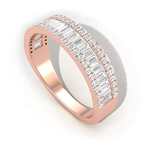 Anillo de compromiso redondo de 0,70 quilates con diamante certificado SGL, HI-SI diamante nupcial anillo de eternidad, anillos de compromiso para mujer, oro de 14 quilates