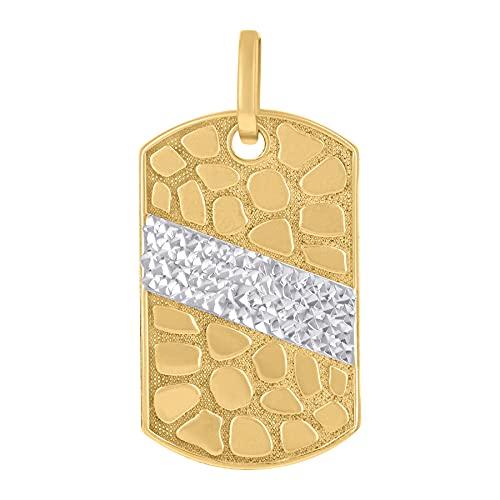 Collar con colgante de dos tonos de oro de 14 quilates para hombre, diseño de animal y perro, mide 34,8 x 16,6 mm de ancho, joyería de regalo para hombres
