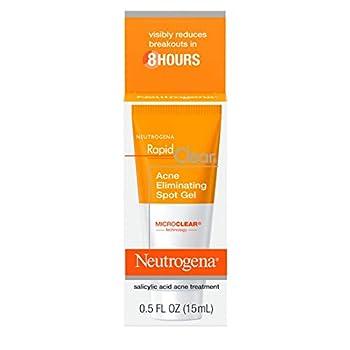 Neutrogena Rapid Clear Acne Eliminating Spot Treatment Gel with Witch Hazel and Salicylic Acid Acne Medicine for Acne-Prone Skin 0.5 fl oz  Pack of 2
