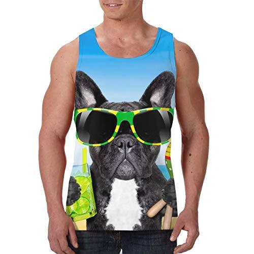 YongColer Men's Beach Funny Brazil French Bulldog Graphic Tank Top