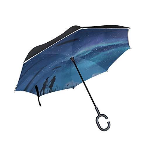 Silhouetten Paar Sternenhimmel invertiert Regenschirm große Doppelschicht Outdoor Regen Sonne Auto Wendeschirm