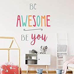 Inspirational Quotes Wall Stickers, Be Awesome Be You, Inspirational Quotes Wall Stickers, Colorful Lettering Wall Decals for Classroom Study Room Bedroom Decor, Peel and Stick Motivational Decal