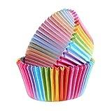 Shoplifemore Cajas para magdalenas, cajas de magdalenas, envolturas de papel con arco iris, para bodas, fiestas de cumpleaños (200 unidades)