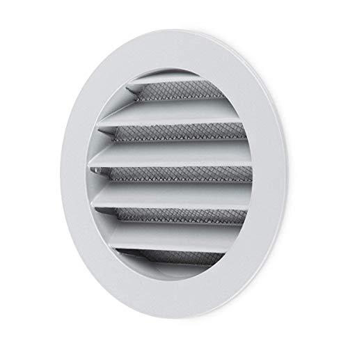 calimaero WSGG 100 mm - Rund Wetterschutzgitter Silbergrau Flansch Insektenschutz Lüftungsgitter