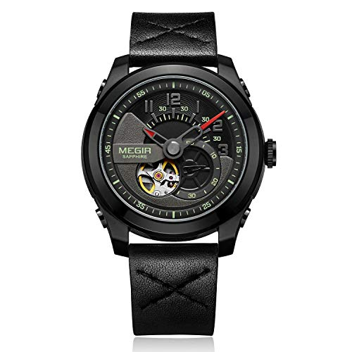 Megir Relojes Automático Reloj Mecánico Hombres Zafiro Impermeable Masculino Relojes...