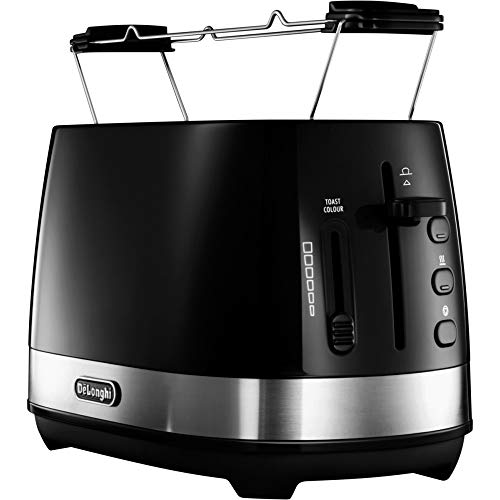 De'Longhi Toaster Active Line CTLA 2103.BK Tostapane a 2 fette, 900 W, Plastica, Acciaio Inox