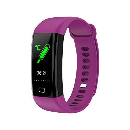 RNNTK Impermeable Pantalla A Color Pulsera Inteligente, Temperatura Corporal Pulsómetro Fitness Smartwatch para Hombre Mujer,Multifunción Rastreador De Actividad Reloj Deportivo-Púrpura