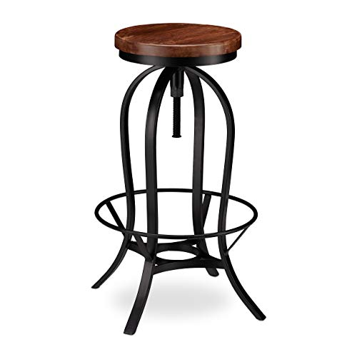 Relaxdays Barhocker industrial, Tresenhocker drehbar, hoher Vintage Hocker, höhenverstellbar bis 76,5 cm, schwarz/braun