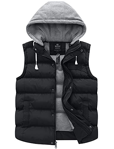 Wantdo Men's Winter Removable Hooded Quilted Vest Outwear Large Black