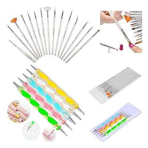 Colomba - Set di 20 pennelli per nail art, set di strumenti per dotting, kit accessori modellaggio unghie