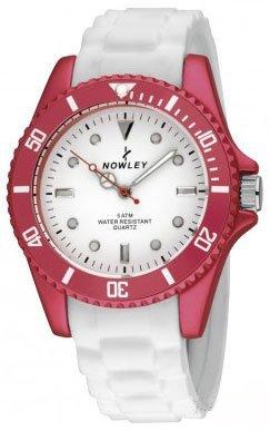 Reloj NOWLEY 8-5305-0-1 - Reloj Mujer 5 ATM con Caja metálica lacada en Rojo y Correa de Silicona Blanca.
