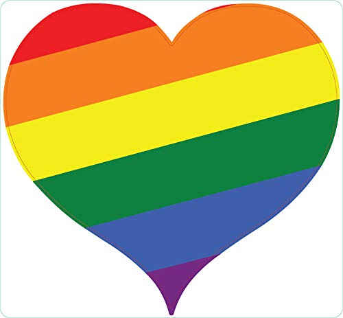 JMM Industries Gay Pride Heart Shape Rainbow LGBT Vinyl Decal Sticker Car Window Bumper 5-Inches Premium Quality Vinyl Sticker UV Protective Laminate Equality Love is Love PDS2060