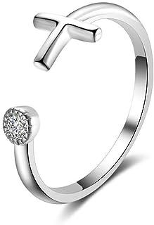 Lozse Anelli regolabili Donna anello 925 croce d'argento sterling Ring anello regolabile apertura