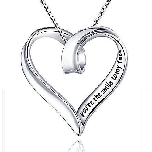 Aienid Frauen Geschenk 925 Sterling Silber Halskette für Damen Groß Herz