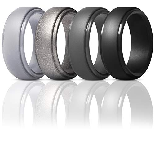 ThunderFit Silicone Rings for Men - 4 Rings Step Edge Rubber Wedding Bands 10mm Wide - 2.5mm Thick (Gun Metal, Silver, Black, Dark Grey, 13.5-14 (23mm))