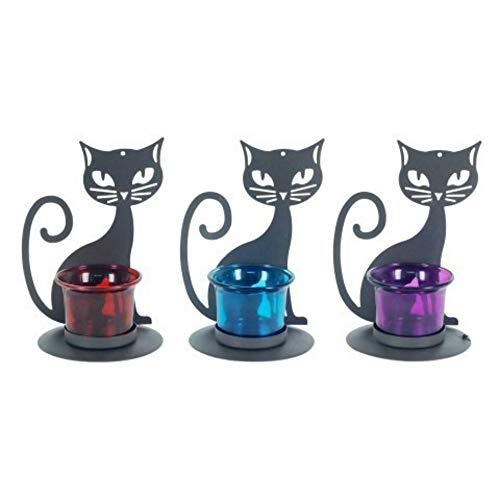 CAPRILO. Set de 3 Portavelas Decorativas de Metal y Cristal T-Lite Gatos....