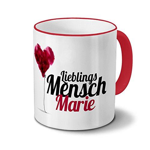 printplanet Tasse mit Namen Marie - Motiv Lieblingsmensch - Namenstasse, Kaffeebecher, Mug, Becher, Kaffeetasse - Farbe Rot