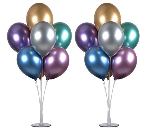 LANGXUN 2 Set 28 Height Table Balloon Stand Kit for Birthday Party Decorations and Wedding Decorations, Happy Birthday Balloons Decorations for Party and Christmas Balloon Decorations