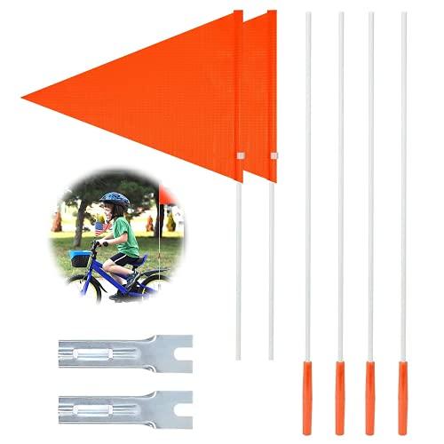 Fmlkic 2 banderines para bicicleta, banderines de seguridad para bicicleta infantil, color rojo
