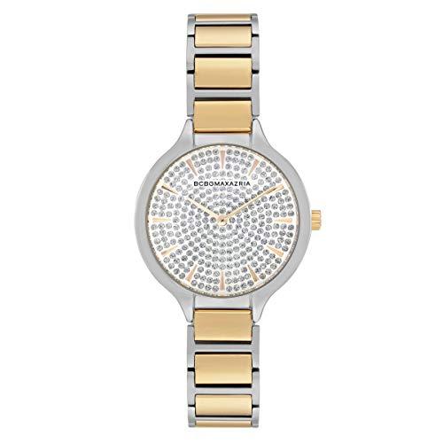 BCBGMAXAZRIA Ladies Quartz Analog Two Tone Yellow Gold Silver Bracelet Watch -  Geneva Watch Group, BG50678015