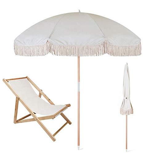 JFFFFWI Parasol de jardín Sombrilla de Playa con Flecos Protección Solar 100% UV Portátil y fácil de Instalar en la Arena y Seguro en el Viento