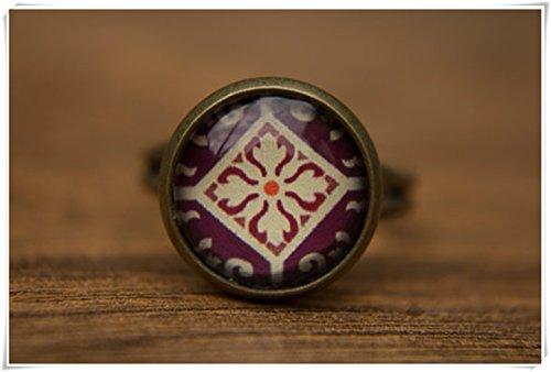 Elf House Violetter Ring Deep Purple Verstellbarer Ring Glaskuppel Ring Statement Ring