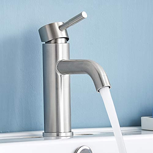 Shaco Commercial Stainless Steel Vanity Single Handle Bathroom Faucet ,Brushed Nickel Bathroom Sink Faucets