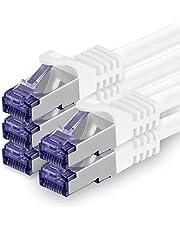 Cat.7 nätverkskabel 10m - vit - 5 delar - Cat7 patchkabel (SFTP/PIMF/LSZH) råkabel 10 Gb/s med Rj 45-kontakt Cat.6a - 5 x 10 meter vit