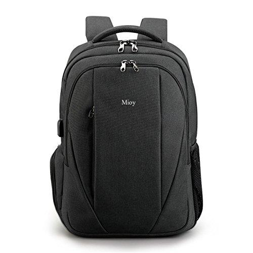 Mioy Herren Groß Kapazität Anti Diebstahl Rucksack 15.6 Zoll Laptop Backpack Oxford Tuch dauerhaft Bussiness Reisetasche Wasserabweisend Stylishe Daypack mit USB-Ladeschnittstelle (Schwarz)